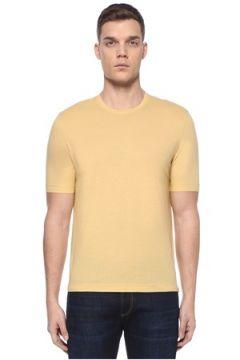 Lardini Erkek Sarı Basic T-shirt 50 IT(107373296)