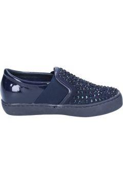 Chaussures Sara Lopez slip on bleu cuir verni textile strass BX708(115442626)