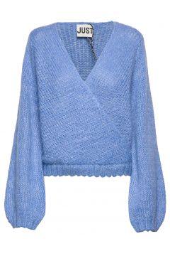 Dolly Wrap Knit Strickpullover Blau JUST FEMALE(108839073)