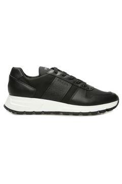 Prada Sport Erkek Siyah Şeritli Logolu Sneaker 9.5 UK(109148703)