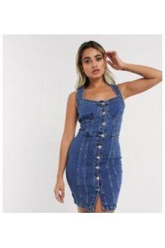 Parisian Petite - Vestito corto di jeans con bottoni lavaggio blu medio-Bianco(122471972)