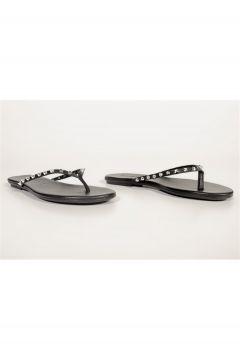 Shoes & More Kadın Siyah Hakiki Deri Terlik(124639219)