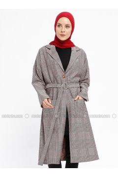 Maroon - Multi - Unlined - Shawl Collar - Topcoat - İLMEK TRİKO(110329224)