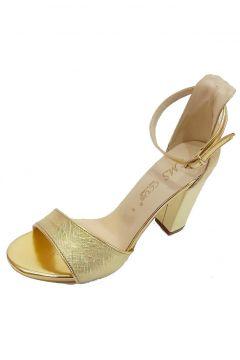 SMS Kadın Altın Fashion Topuklu Sandalet 21102 Trend(118225317)