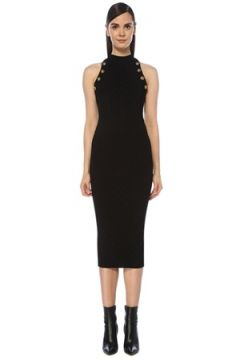 Balmain Kadın Siyah Halter Yaka Düğme Detaylı Midi Triko Elbise 36 FR(118374792)