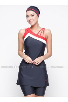 Navy Blue - Half Covered Switsuits - Adasea(110335541)