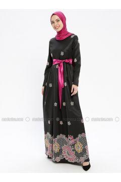 Fuchsia - Multi - Fully Lined - Crew neck - Muslim Evening Dress - MissGlamour(110320671)