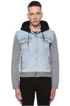 Balmain Erkek Colorblocked Kapüşonlu Garnili Denim Ceket Mavi 50 IT(113464425)