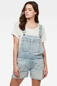 G-Star RAW Women Faeroes Boyfriend Short Overall Ripped Edge Turnup Light blue(118179874)