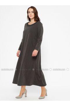 Black - Gray - Anthracite - Unlined - Crew neck - Plus Size Dress - CARİNA(110320240)