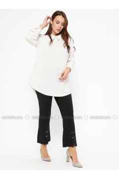 Navy Blue - Plus Size Pants - CARİNA(110320137)