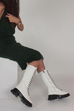 İnan Ayakkabı Beyaz Siyah Kadın Bot(107873047)