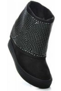 Pantofelek24.pl | Czarne sneakersy na koturnie z cekinami(112082894)