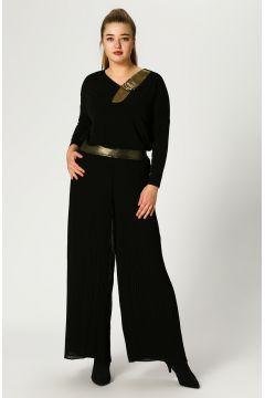 Verda Gold Detaylı Pileli Siyah Pantolon(113973889)