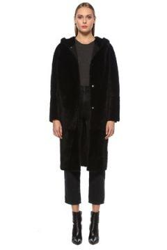 Yves Salomon Kadın Siyah Kapüşonlu Çift Taraflı Deri Palto 36 FR(127765150)