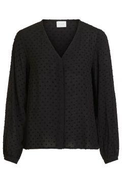 VILA Loose Fit V-hals Overhemd Dames Zwart(111096986)