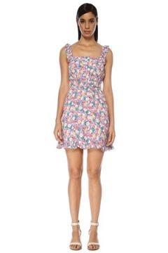 Faithfull The Brand Kadın Mid Summer Lila Çiçekli Kemerli Mini Elbise Mor XS EU(119229989)