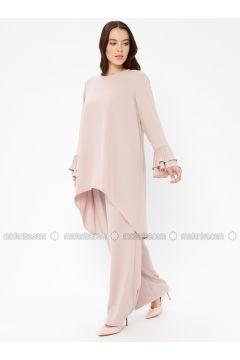 Salmon - Unlined - Crew neck - Muslim Plus Size Evening Dress - Sevdem Abiye(110323343)