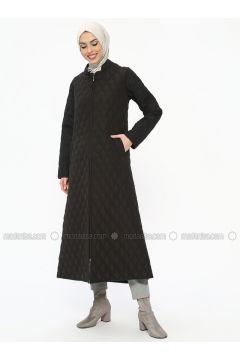 Black - Unlined - Crew neck - Coat - ECESUN(110322441)