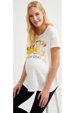 DeFacto Kadın Lion King Lisanslı Kısa Kollu Hamile Tişört(125925542)