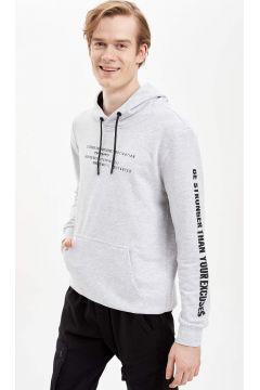 DeFacto Erkek Baskılı Kapüşonlu Sporcu Sweatshirt(119061586)