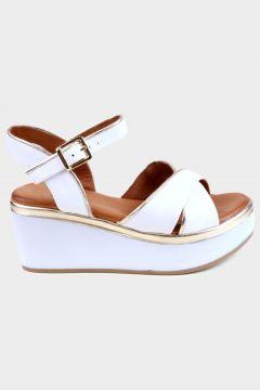 KAMMI Beyaz Hakiki Deri Kadın Dolgu Topuk Sandalet(124970225)