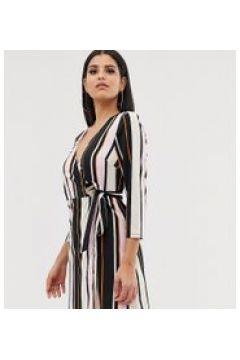 Outrageous Fortune Tall - Ausgestelltes Kleid mit Wickeldesign vorn und Glockenärmeln in bunt gestreift - Mehrfarbig(95023705)