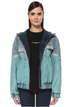Stella McCartney Kadın Mavi Dik Yaka Dekoratif Dikişli Denim Ceket 40 IT(107373574)