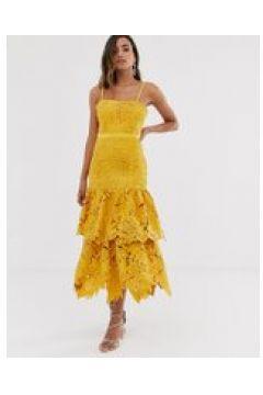 Forever U - Vestito in pizzo all\'uncinetto premium giallo con spalline(120331109)