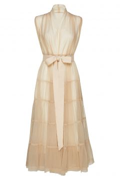 Tiered Tulle Dress Kleid Knielang Creme CATHRINE HAMMEL(114163755)