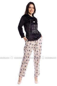 Black - Crew neck - Multi - Pyjama - Pamuk&Pamuk(110323072)