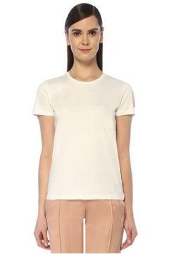 Moncler Kadın Beyaz Kolu Logo Patchli T-shirt L EU(109265149)