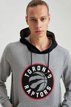 DeFacto Erkek NBA Lisanslı Unisex Kapüşonlu Slim Fit Sweatshirt(125925890)
