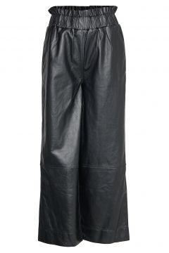 Lamb Leather Pants Hosen Mit Weitem Bein Schwarz GANNI(114157833)