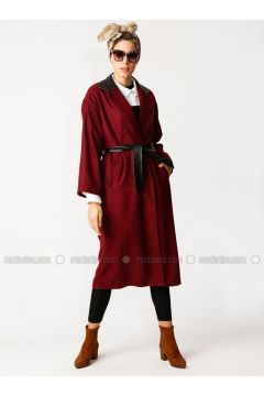 Maroon - Unlined - Cotton - Topcoat - Meryem Acar(110332634)