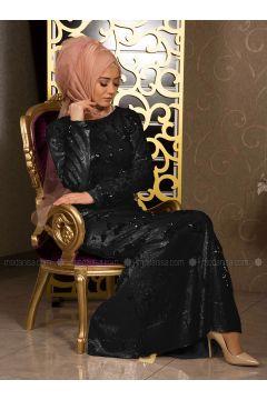 Black - Fully Lined - Crew neck - Muslim Evening Dress - İz Otantik(110335978)