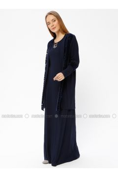Navy Blue - Fully Lined - Crew neck - Evening Suit - Le Mirage(110337479)