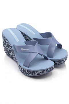 İpanema Kadın Mavi Topukları Leopar Desen Tasarım Terlik(122927712)