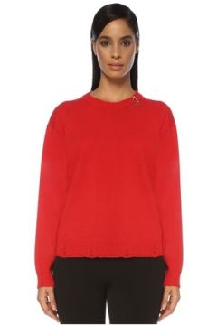 Versace Kadın Kırmızı Yıpratma Detaylı Kaşmir Kazak 42 IT(120885412)