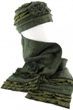 Bonnet Léon Montane Bonnet echarpe vert en laine bouillie Mona(88495886)