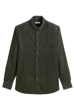 Camisa recta con manga larga de terciopelo(120848221)