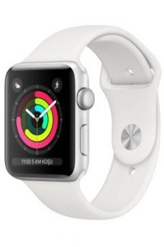 Apple Watch Seri 3 GPS 38 mm Gümüş Rengi Alüminyum Kasa ve Beyaz Spor Kordon -(122381937)