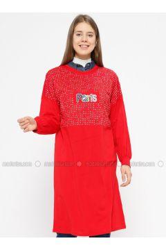 Red - Crew neck - Cotton - Tunic - İkoll(110319941)