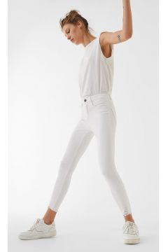 Skinny-Hose mit hohem Bund und Rissen Weiß(114502207)