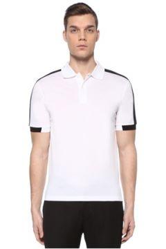 Prada Erkek Beyaz Polo Yaka Kontrast Şeritli T-shirt XXL EU(109148724)