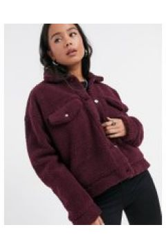 Dr Denim - Pixley - Giacca in pile borg bordeaux-Rosso(121794770)