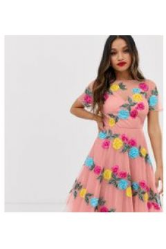 Dolly & Delicious Petite - Rosa Midi-Ballkleid durchgehend mit Blumen besetzt - Rosa(91277573)