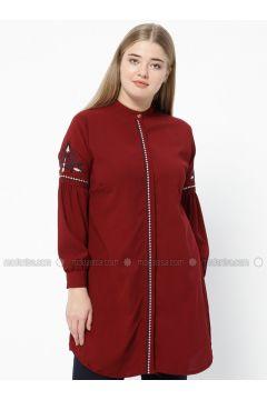 Maroon - Crew neck - Plus Size Tunic - SUEM(110315212)
