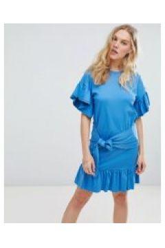 Maison Scootch - Vorn gebundenes Kleid mit Rüschenärmeln - Blau(86674083)