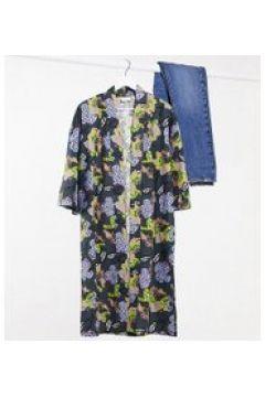 ASOS MADE IN KENYA - Kimono a fiori in coordinato-Grigio(120224361)